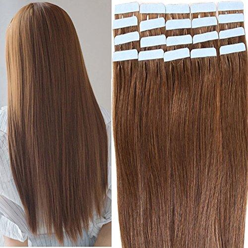Tape Extensions Echthaar -100% Remy Echthaar Haarverlängerung glatt Hellbraun,50cm-50g (20 stück+10pcs free tapes)