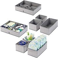 mDesign boîte de rangement pour chambre d'enfant tissu en lot de 2 – bac de rangement pour accessoires de bébé avec…