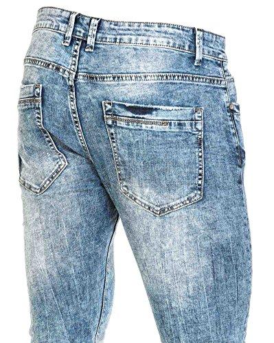 BLZ jeans - Jean bleu slim délavage important Bleu
