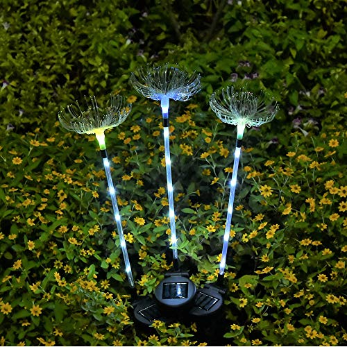 CHUSHENG Solar Löwenzahn Lampe, 7 Farbe Zyklus LED Glasfaser Licht Wasserdicht, Verwendet Für Rasen Garten Villa Landschaft Dekoration Lichter (3 Stücke)