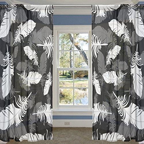 coosun schwarz und weiß Federn Gefieder Hintergrund Sheer Vorhang Einsätze Tüll Polyester Voile Fenster Behandlung Panel Vorhänge für Schlafzimmer Wohnzimmer Home Decor, 139,7x 213,4cm, 2Platten Set, Polyester, multi, 55x78x2(in) (Vorhänge Weiß Sheer)