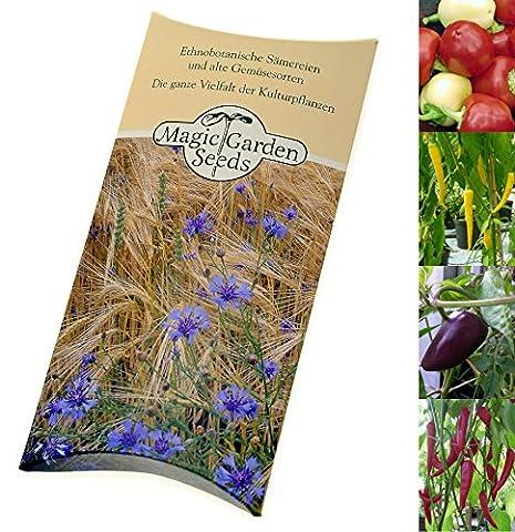 Kit de graines: 'Poudre de chili coloré', 4 variétés de piment fort aromatiques et colorées, idéales pour le séchage et le broyage, dans emballage-cadeau