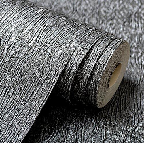 3D wallpaper moderne einfache Plain Tiefe tief geprägte Textur Tapete geschnitzt metallic silber grau Kaufen Sie drei Get One Free ( Color : C01013 )