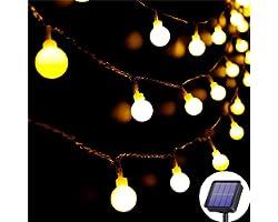Lezonic Guirlande lumineuse solaire Extérieur 60 LED, 8M Étanche avec 8 Modes, étanche, éclairage de jardin pour jardin, Terr
