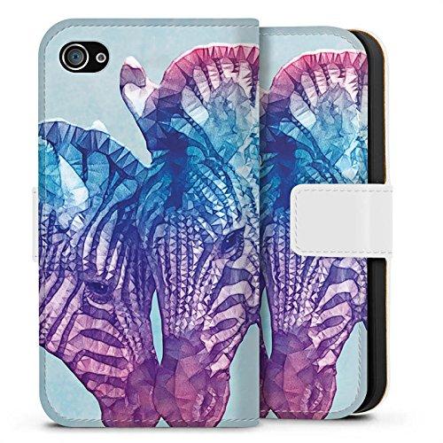 Apple iPhone X Silikon Hülle Case Schutzhülle Zebra Fohlen Muster Sideflip Tasche weiß