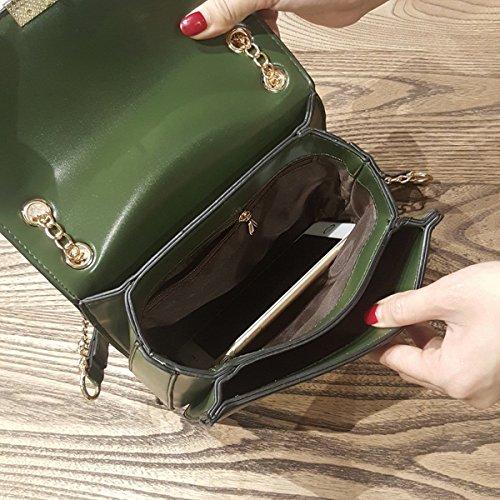 Weibliche Schulter kuriertasche einfache Kette kleine quadratische tasche Grün