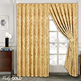 LUXURY JACQUARD Curtains Fully Lined Ready Made Tape Top Pencil Pleat Curtains Fusion (TM) (Ruby Gold, 90X90)