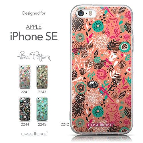 CASEiLIKE Roses et Plumes Beige Vintage 2251 Housse Étui UltraSlim Bumper et Back for Apple iPhone SE +Protecteur d'écran+Stylets cristal (couleur aléatoire) 2242