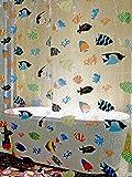 Poisson en plastique Transparent pour rideau de douche Transparent 180 x 200 cm-Bleu/Orange/jaune/noir/vert-Long