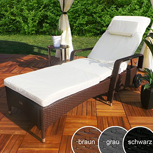 Swing & Harmonie Rattan Garten Liege Relax Polyrattan Gartenliege Rattanmöbel Liegestuhl Sonnenliege (Braun)