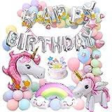 MMTX Unicornio Fiesta Decoración para Mujer niña cumpleaños Fiesta,3D Unicornio Globos Cake Toppers Macaron Fiesta Globos Pen