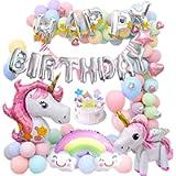 MMTX Decorazioni Feste Unicorno per Donna Ragazza Festa di Compleanno,3D Unicorno Palloncini Cake Toppers Macaron…