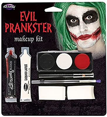 Halloween Evil Prankster/Joker Make Up Kit with Latex, Blood, Makeup & Applicator
