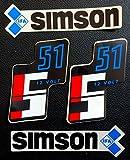 Original DDR 4 teiliger Aufkleber Satz Simson S 51 Original DDR 12 volt