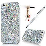 iPhone SE Case,iphone 5S Case,iPhone 5 Case, Badalink Bling Glitter Soft Gel Clear Shock Absorption TPU Case Luxury Shinny Sparkle Ultra-Slim Silicone Case Back Shell for iPhone SE 5S 5 with with 1 Touch Pen & 1 Dust Plug,Silver