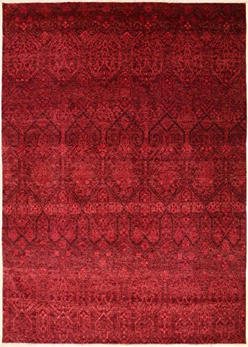 RugsTC 251 x 305 Chobi Ziegler Area Rug Made Using Vegetable Dyes with Wool Pile Hand-Knotted in Red,Maroon,Pink Colors | a 244 x 305 Rectangular Double Knot Rug -