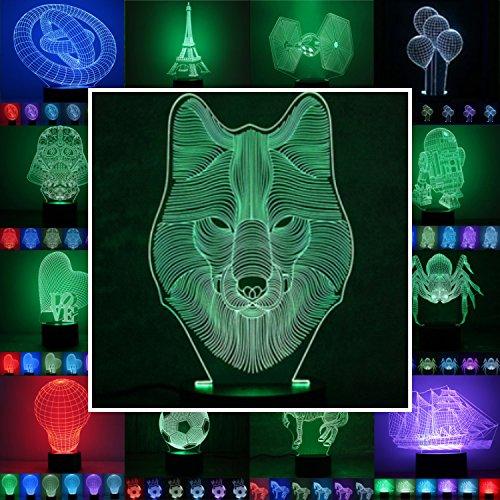 3D Lampe 3D Leuchte 3D LED Stimmungslicht. 7 Farben - 81 verschiedene Motive, hier Wolf ca.24x14cm inkl.Sockel - 3D Illusion Dekolicht mit USB Anschluß und 220V USB Netzteil