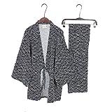 Fancy Pumpkin Herren-Kimono-Pyjamas im japanischen Stil Roben Kimono-Anzug Dressing Gown Set-Black Wave-Muster
