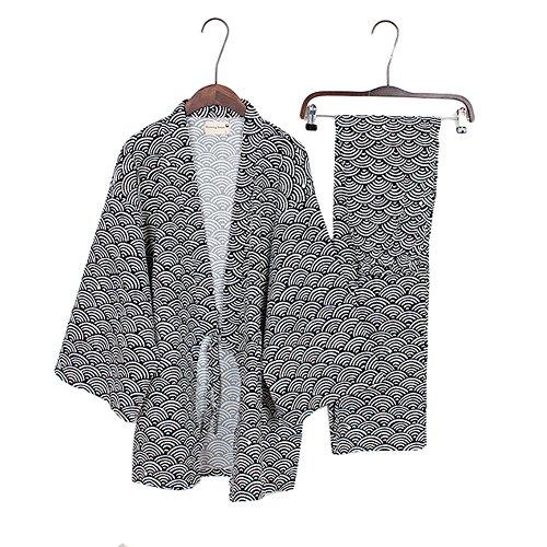 Herren-Kimono-Pyjamas im japanischen Stil Roben Kimono-Anzug Dressing Gown Set-Black Wave-Muster