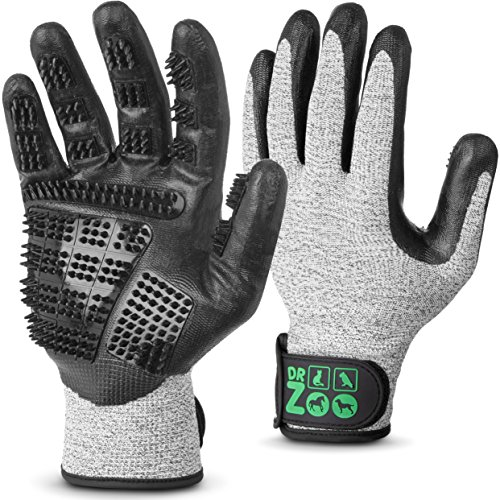 Dr.Zoo 2Stk. Profi Fellpflege-Handschuh Gr.(M) | Für jedes Haustier mit Kurzhaar, mittel und Langhaar | Als Hunde-Bürste, Katzen-Bürste und Pferde-Bürste oder Striegel | Grooming glove zum entfernen von Katzenhaaren u. Hundehaaren (Hund Pflege Zubehör)