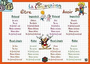 """ARIS EDITIONS Sous-main et Set de table éducatif 30x42 Plastifié, effaçable """"la conjugaison"""""""