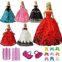 ZITA ELEMENT 15 Piezas Ropa y Accesorios - 5 Conjuntos Vestidos Barbie Fiesta Aleatorio 5 Pares Zapatos 3 Perchas 2 Bolsos de Mano de Moda de Regalo Niña