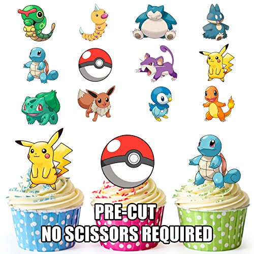 Pokemon Go Party Pack Cup Cake Topper, essbar Stand Up Dekorationen, (Ideen Halloween Deko Cupcakes)