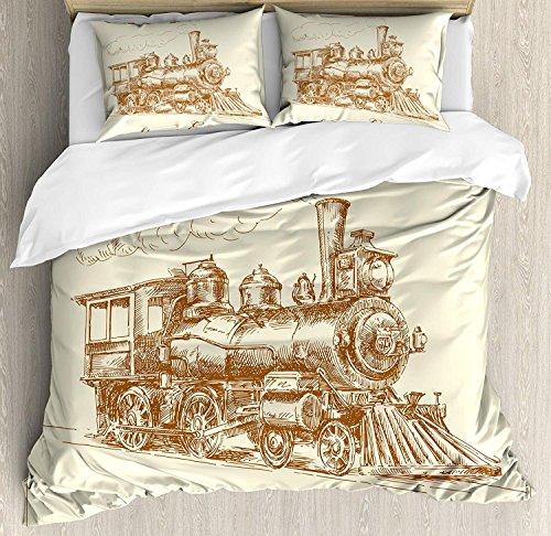 Dampfmaschine 3-teiliges Bettwäscheset Bettbezug-Set, Old Times Train