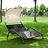 SoBuy® Sonnenliege, Doppelliege mit Sonnendach, Gartenliege, Bett, OGS29-SCH