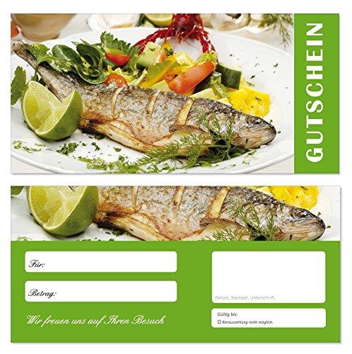 50 Stück Geschenkgutscheine (Fisch-688) Gutscheine Gutscheinkarten für Gastronomie Bereiche wie Restaurant Gaststätte Lieferdienst Fischhandel