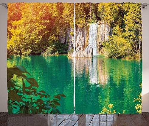 FAFANIQ Croatia Curtains, Fantastic Outdoor Scene with Forest and Lake, Living Room...