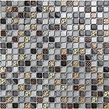 Graue Wandfliesen Baustoffe, Zweck wasserdichte Mischung Harz und Stein Mosaik Glasfliesen für home Dekor/Küche Backsplash/Bodenbeläge, qualitativ hochwertige Multi Glasfliesen, LSHYM1504 (300x300mm/Stück)