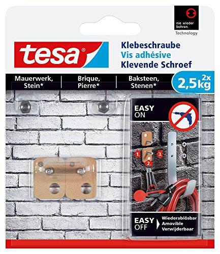 Preisvergleich Produktbild tesa Klebeschraube für Mauerwerk und Stein,  Halteleistung 2, 5 kg,  vierckig,  2 Stück