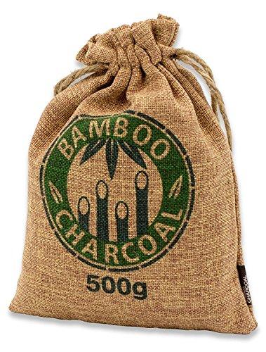 Bambou naturel Désodorisant avec charbon actif–Miracle Miracle Coussin de Chef–Purificateur d'air pour le salon, cuisine, chambre à coucher, salle de bain & WC, voiture, etc.–Conforme à la norme libres et 100% biodégradable, 500g