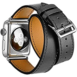 Apple Watch Band,Sanday® Luxury Double Tour Genuine Leather watch Band strap Bracelet Replacement Wrist Band With Adapter Clasp for Apple Watch iWatch (Gray 38mm)