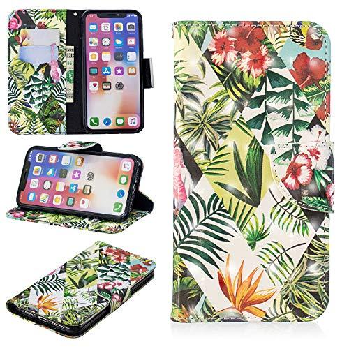 Misteem Coque pour iPhone XS/X Wallet Antichoc, Créatif Fantaisie Fine Etui Portefeuille de Protection Cuir Support Flip Case pour Apple iPhone X/XS 5,8 Pouces Motif Feuille Banane Verte