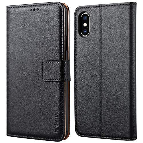 Peakally iPhone X/XS Hülle, Premium Leder Tasche Flip Wallet Case [Standfunktion] [Kartenfächern] PU-Leder Schutzhülle Brieftasche Handyhülle für iPhone X/XS 5.8