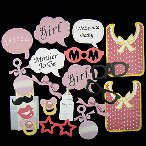 Rzctukltd 20Pcs Baby Shower Photo Booth Props New Born Lady Girl Party Decorations 20pcs Pink