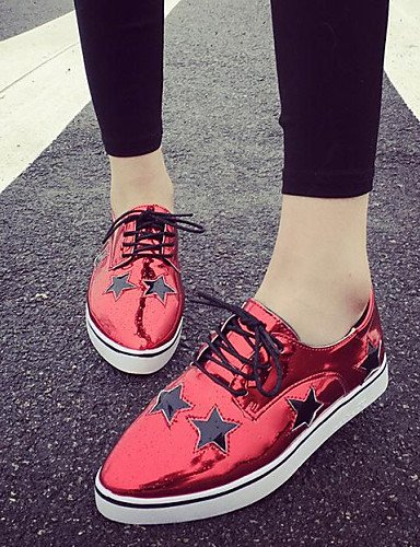 ZQ hug Scarpe Donna-Sneakers alla moda-Tempo libero / Casual-Comoda / A punta-Piatto-Finta pelle-Rosso / Argento / Dorato , golden-us8 / eu39 / uk6 / cn39 , golden-us8 / eu39 / uk6 / cn39 red-us7.5 / eu38 / uk5.5 / cn38