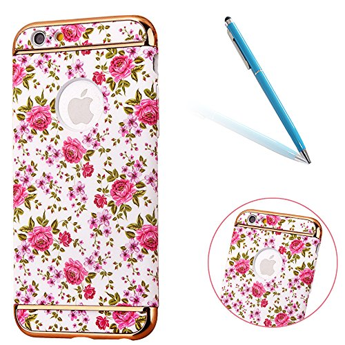 "iPhone 6s Handyhülle, Kreativ Mode Series CLTPY iPhone 6 [Ultra Hybrid] 3-Teilige Stylisch Extra Dünne Tough Plastic Schutz-etui mit Detachable Elektroplattiert metallrahme für 4.7"" Apple iPhone 6/6s  Farbige Blume 17"