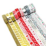 K-LIMIT 10 Set Washi Tape rotoli di nastro adesivo masking tape Scrapbooking DIY Natale Christmas idee regalo 9158