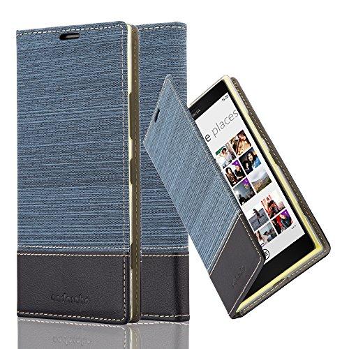 Cadorabo Hülle für Nokia Lumia 1520 - Hülle in DUNKEL BLAU SCHWARZ – Handyhülle mit Standfunktion und Kartenfach im Stoff Design - Case Cover Schutzhülle Etui Tasche Book