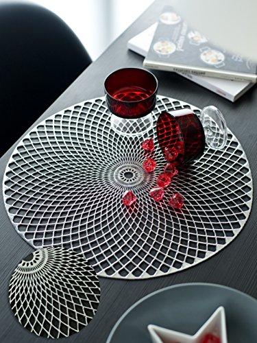 CALITEX Set de 6 Tables Rond, PVC, Cuivre Rose, 38x38 cm