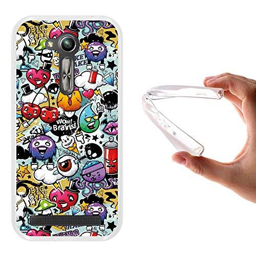 WoowCase ASUS Zenfone Go ZB450KL Hülle, Handyhülle Silikon für [ ASUS Zenfone Go ZB450KL ] Graffiti Funny Farben Handytasche Handy Cover Case Schutzhülle Flexible TPU