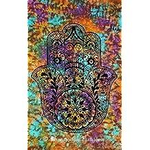 Manta con diseño indio de mano de Fatima Hamsa, hecho a mano, algodón 137 x 218 pulgada