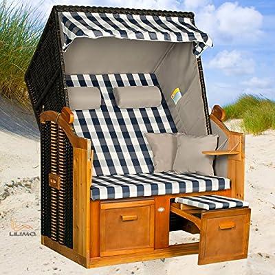 Strandkorb BALTIC-R BLB, Geflecht anthrazit, fertig montiert, von LILIMO