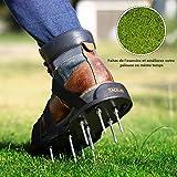 TACKLIFE Rasenlüfter Schuhe, GAS1A 4 Riemen Rasenbelüfter-Nagelschuhe, 30cm Lange Sohlen, 5,5cm Lange Nägel, 4 Einstellbare Riemen mit Metallschnallen, universelle Größe, für gesünderen Rasen