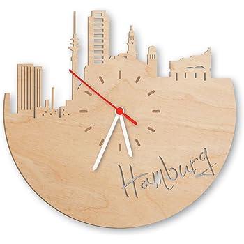 Skyline Hamburg Wanduhr Aus Birken Holz Made In Germany Design Uhr