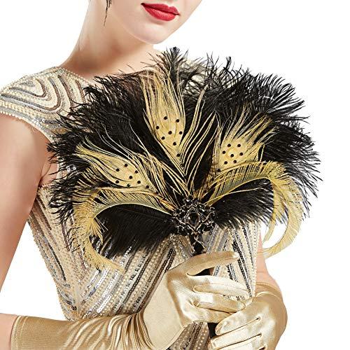 enstrauß Hochzeit Braut Brautjungfer Bouquet 20er Jahre Feder Handfächer Accessoires Damen 1920s Gatsby Kostüm Zubehör (Schwarz Gold) ()
