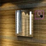 Badspiegel 45x60cm Spiegel mit energiesparender LED-Beleuchtung kaltweiß IP44 mit Sensor-Schalter